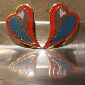 """Laurel Burch vintage """"Dove Heart"""" earrings"""